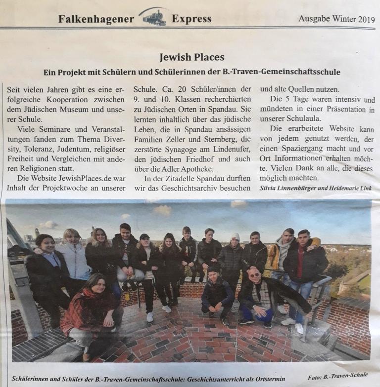 Beitrag im Falkenhagener Express, Winter 2019